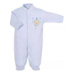 Babygrow - Baby - Basic - cotton sleepsuit - ribbed PINK (same as the photo) - hanging on pegs tiny bear - last item -45% off clearance sale